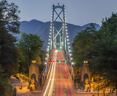 Lions Gate Bridge at Dusk (Rick Deacon) Tags: park city longexposure bridge light vancouver lights high dynamic north columbia stanley british streams lighttrails lionsgatebridge range lionsgate hdr beutiful downtownvancouver