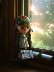 IMG_9523...We have arrived at the log cabin and Autumn checks out the views from the windows.