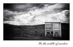 In the middle of nowhere (*Glueckskind*) Tags: uk greatbritain skye nature clouds mailbox landscape scotland rainyday chairs unitedkingdom natur wolken busstop postbox letterbox schwarzweiss landschaft bushaltestelle sthle briefkasten schottland regentag stuehle grossbritanien unterstand gewitterwolken restwollede ilselofskye
