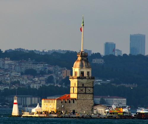 lighthouse tower water skyline clouds turkey nikon glow afternoon view watch istanbul ramadan bosphorus urbanlandscape maidens leanders d7100