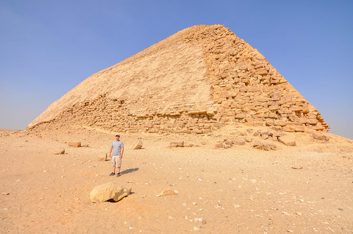Bent Pyramid featuring the original polished limestone outer casing that the pyramids used to have