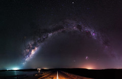 To Infinity & Beyond (inefekt69) Tags: north dandalup westernaustralia australia great rift panorama stitched ms ice landscape wide astrophotography astronomy stars galaxy milkyway galactic core space dam road large magellanic cloud small clouds night nightphotography carina nebula nikon 50mm hoya red intensifier d5100 dslr longexposure perth southern southernhemisphere cosmos cosmology outdoor sky landscapeastrophotography reservoir catchment water ptgui explore explored
