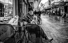 Tea for two. (Mister G.C.) Tags: blackandwhite bw image streetshot streetphotography candid people photograph monochrome urban town city man male guy dog pet sitting outside cafe eating drinking eyecontact towncenter rain rainy raining zonefocus zonefocusing snapfocus ricoh ricohgr pointshoot mistergc schwarzweiss strassenfotografie motherwell scotland britain greatbritain gb british uk unitedkingdom europe