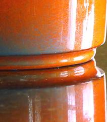 Macro Monday: Orange and Blue (Hayseed52) Tags: macromonday orangeandblue pot clay orange blue macro shiny glaze