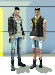 BACKSTAGE (Levi Megadon // *OMG*) Tags: sl secondlife men mens blog style look lotd event stylish fashion cool fresh dope menonlymonthly mom doux hair bolson tats tattoos tattoo ink aitui ears azoury piercing scars leather jacket coat invictus ripped denim shorts skinny fitted tight torn distressed jeans pants boots vintage redgrave bluprnt cap hat zoom shades glasses gold hxnor neck keychain chain necklace ronsem slack loose baggy tee tshirt sleeveless tank top valekoer flipped military biker high