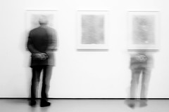 blank canvas (Joseph Dimartino) Tags: man museum split broken monochrome blackandwhite bw art ambiguous alone conceptual divided faceless fineart painting canvas hidden isolated male individual people person quiet universe quantum waiting gaze