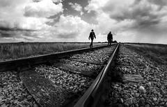 Romney Rails (JennTurner) Tags: romney marsh kent rails railwayline track people blackwhite bw lines canon fisheye