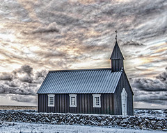 Iceland Budir Black Church (MarcCooper_1950) Tags: iceland budir black church vivid hdr dramatoc clouds cross chapel outdoors landscape wide angle nikon d810