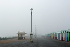 Hove Promenade in Fog (suerob) Tags: hove promenade eastsussex seafront englishchannel streetlamp shelter beachhut winter december shingle season fog murky mist visibility gloomy damp raw cold