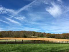 Fall Layers (Jayhawk Explorer) Tags: ipiccy fence fencedfriday awesomesky clouds bluesky greengrass goldengrass fallcolors autumn backroads countryroads douglascounty kansas ks