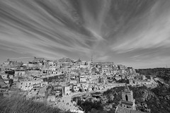 Like a rolling stone... (modestino68) Tags: bn bw panorama landscape matera case houses cielo sky nuvole clouds bobdylan jimihendrix