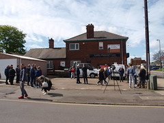 People begin to gather ahead of the Hillsborough Memorial Service held at the Ashby Funeral Care parlour on 15th April 2017 (Scunthorpe Life) Tags: scunthorpe liverpool football lfc hillsborough disaster tragedy jft96