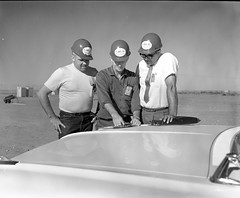 Atlas Collection Image (San Diego Air & Space Museum Archives) Tags: hardhat visitorbadge clipboard necktie wristwatch worker site57910 1961 atlas walkerafb walkerairforcebase roswell newmexico gascylinder carhood