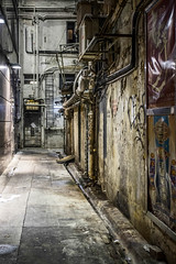 39/100: I have often walked down the street before.. (judi may) Tags: hongkong street backstreet grungy textures canon7d walls pavement pipes posters graffiti 100xthe2017edition 100x2017 image39100 ladder night metal grunge