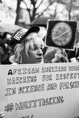 March for Science NYC / Sony A7rII / Zeiss Batis 85/1.8 (neilcar) Tags: africanamerican africanamericanwoman gotham manhattan marchforscience marchforsciencenyc nyc newyork blackwhite blackandwhite bw march mono monochrome protest proud streetphotography woman
