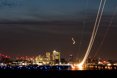 London City trails (benji1867) Tags: london city lcy eglc egly ldn aircraft airplane avgeek avporn aviation fly flight flying jet airline airliner light trails landing take off takeoff skyline dark night shoot tripod airport