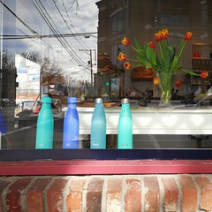 Four bottles and a view... (Beeke...) Tags: window shopping display reflection squareformaturban bricks flowers bottles blue teal