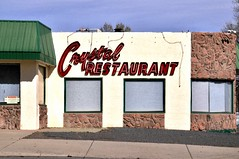 Crystal Restaurant (STREET MASTER) Tags: sign restaurant raton newmexico storefront signs signage neon building decline urban liquorstore packaged typography vintage