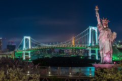 Tokyo Bay and Rainbow Bridge from Odaiba Park (djgreddy00) Tags: sony sonyimages sonyalpha sonya7ii sonyalphasclub shotkang skyline tokyo japan tokyoskyline odaiba rainbowbridge tokyobay zeiss sony85mm14 nightphotography longexposure