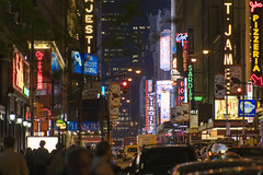 A young night in the big apple (JOMAGACOL) Tags: city night colours people personas building neon cars walk caminar lagranmanzana ny new york nocturna colores vida ciudad