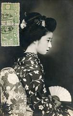 Senior Maiko Momotaro 1920s (Blue Ruin 1) Tags: maiko apprenticegeisha kyomaiko kyotoapprentice geiko geisha yakkoshimada hairstyle seniormaiko kikyou chinesebellflower kimono motif sensu foldingfan japanese japan taishoperiod 1920s postcard momotaro