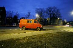 Katowice, Poland. (wojszyca) Tags: contax g2 zeiss biogon 21mm fuji fujichrome rtp t64 tungsten slide city urban carspotting soloparking red bus van night longexposure