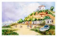 Ferragudo - Algarve - Portugal (guymoll) Tags: usk urbansketchers ferragudo portugal port harbour bateau aquarelle watercolour watercolor aguarela sketch croquis falaise