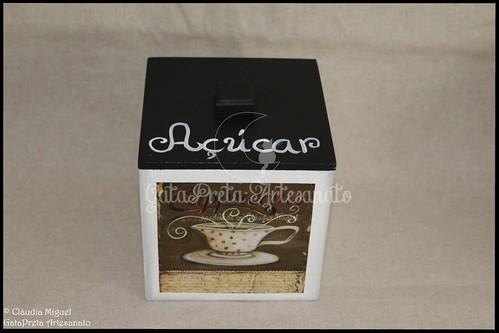 """Caixa para cápsulas de café Delta Q e caixa de açúcar """"Black CoffeeII"""""""
