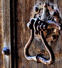 I hear you knocking (Gawthorpe Hall) (Maria .... not been around much lately.) Tags: knocker iron wood outdoors aged original rust gawthorpe hall