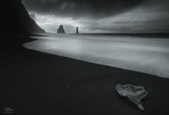 Frozen in time (Steve Clasper) Tags: reynisdrangar iceland mono stacks sea black sand beach vik coast coastal basalt