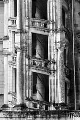 Double Helix II (San Francisco Gal) Tags: châteaudechambord doublehelixstaircase monochrome bw bn column france château