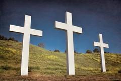 Three wooden crosses.... (Joe Hengel) Tags: threewoodencrosses socal southerncalifornia sanjuancapistrano goldenstate theoc orangecounty oc outdoor cross crosses hillside hill easter bluesky goodfriday