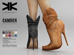 Camden :: Ankle Boots :: 10 Colors ({kokoia}) Tags: kokoia boots boot cowboy cowgirl west heel maitreya slink tmp belleza eve high shoes ankle camden secondlfie 3d virtual