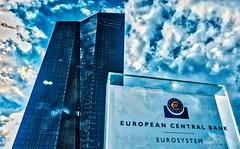 EZB Bank in Frankfurt City (eyeemudo) Tags: ezb cloudy dramatic blue bank skyscraper lowangleview nopeople frankfurt germany