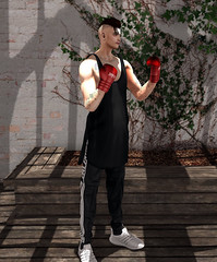 Fighter (Levi Megadon // *OMG*) Tags: sl secondlife men mens blog blogger look lotd oots outfit new mesh cool dope fresh jogging joggers track pants valekoer sneaks sneakers trainers represent tank top shirt loose street urban baggy signature body boxing gloves hxnor piercing aitui mikunch modulus hair style fashion clothes clothing