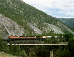 Cyr MT Saturday June 16th 1973 1140MDT (Hoopy2342) Tags: train rail railway railroad milwaukeeroad cmstpp cyr montana mont mt electriclocomotive bridge clarkforkriver