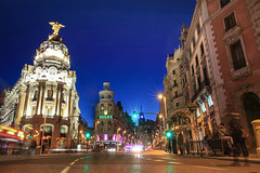 ALWAYS M (Rober1000x) Tags: madrid longexposure architecture night lights arquitectura europa europe architect metropolis bluehour granvia 2014