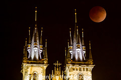 Blood Moone over Our Lady before Tyn steeples (Califdan) Tags: moon tower composite night landscape europe prague belltower steeple spire czechrepublic gothicarchitecture prague1 romanarchitecture churchcathedral starmsto cze tynskychram churchofourladybeforetn oldtowndistrict fromoldtownsquare 7d0033682v2
