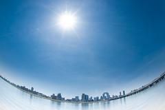 Osaka (まるやま) Tags: blue sky sun fisheye 大阪 osaka ブルー 太陽 空 青 umeda ビル 梅田 淀川 青空 お天道様 魚眼 フィッシュアイ