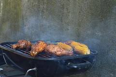 Grill Time! Summer Time (ChangeChained) Tags: summer chicken outside fire corn iron legs time outdoor smoke vegetable meat grill asparagus veggie maize roasted
