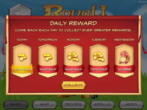 Royal Revolt! Daily Reward: screenshots, UI