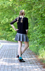 University Daze (Thedrawingmannequin) Tags: school college aqua turquoise peter oxford statement pan earrings chic cuff collar schoolgirl rhinestone jewel turqoise collared oxfords