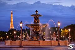 Blue Hour @ Place de la Concorde (A.G. Photographe) Tags: sunset paris france french nikon eiffeltower toureiffel ag bluehour nikkor dri franais hdr parisian placedelaconcorde anto d800 champslyses xiii parisien fontainedesmers antoxiii 70200vrii agphotographe