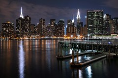 Skyline Serenade (michaelelliottnyc) Tags: city nyc newyorkcity longexposure nightphotography urban skyline night docks canon buildings reflections cityscape waterfront manhattan piers queens citylights slowshutter lic longislandcity gantrypark