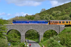 Indomitable 50026 passes over the Viaduct at Corfe with the 4 T-C Unit - 11th May 2014 (82A Photography) Tags: blue red white london castle english station electric arlington underground br diesel south 4 railway class viaduct east tc british locomotive network 50 fleet corfe signal gala services newly semaphore lu starting unit nse livery eastleigh indomitable repainted 50026
