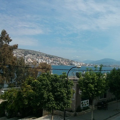 I've just arrived in Saranda and look at that view! It's from the balcony of the hostel in staying at. #hostel #view #sea #beach #seaview