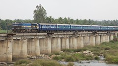 Crossing the Cauvery (string_bass_dave) Tags: bridge india train railway karnataka mysore causeway indianrailways manmadestructures tippu canonef24105mmf4lis cauveryriver bigslideshow colonelbaileysdungeon sriringapatna