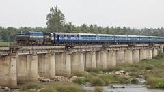 Crossing the Cauvery (string_bass_dave) Tags: bridge india train railway karnataka mysore causeway indianrailways manmadestructures tippu canonef24105mmf4lis cauveryriver bigslideshow colonelbaileysdungeon sriringapatna