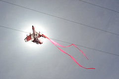 Kite in the Wires (Ian E. Abbott) Tags: kite broken accident powerlines kiteflying disappointment wrecked electricpowerlines electricpowerwires