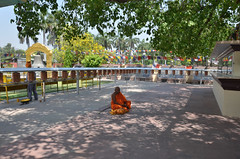 Sarnath - Mulagandha Kuty Vihara Prayer Wheels & Monk (Le Monde1) Tags: india temple nikon ruins buddha stupa buddhist monk ashokan varanasi enlightenment firstsermon archaeological seated emperor saffron ashoka deerpark prayerwheels sarnath robes dharmachakra bodhgaya uttarpradesh monasteries bodhitree mauryan sakyamunibuddha gautambuddha wheeloflaw mulagandhakutyvihara d7000 anagarikadharmapala lemonde1 fivedisciples